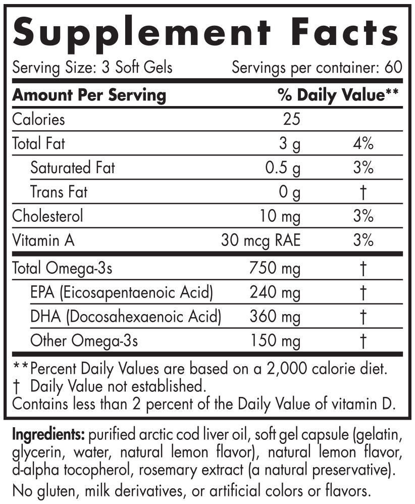 Nordic Cod Liver Oil Lemon 90 Soft Gels